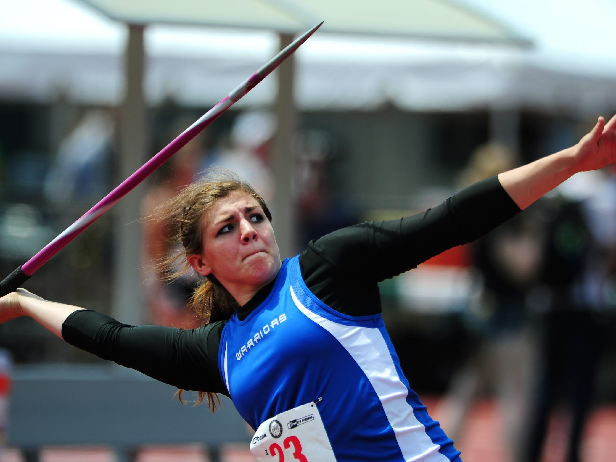 Amity javelin thrower Lindsay McShane competes during the OSAA Class 3A Track & Field Championships inside Hayward Field at the University of Oregon, on Thursday, May 21, 2015, in Eugene.