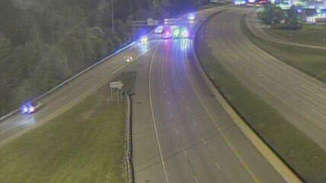 An Ohio Department of Transportation traffic camera view following a motorcycle crash Monday night.