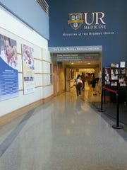 The lobby of Strong Memorial Hospital.
