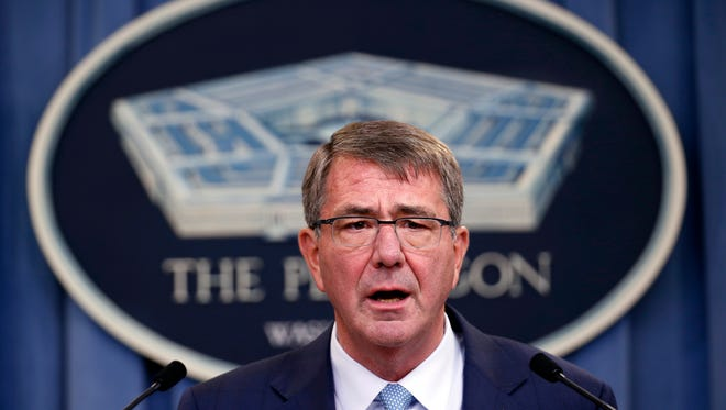 FILE - In this June 30, 2016 file photo, Defense Secretary Ash Carter speaks during a news conference at the Pentagon. Top military leaders are trying to fix the lengthy, inconsistent process for investigating senior officers accused of misconduct, The Associated Press has learned. They are seeking to change a hodgepodge system in which investigations can drag on for years while taxpayers pay six-figure salaries for senior officers relegated to mid-level administrative posts.  (AP Photo/Alex Brandon, File)