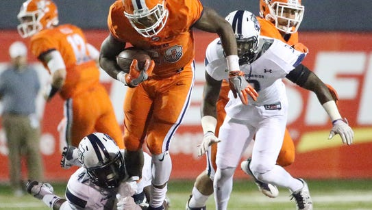 UTEP running back Aaron Jones, 29, is snagged at the