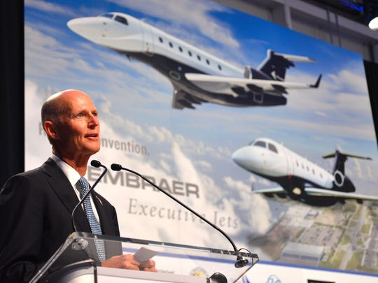 Gov. Rick Scott at Embraer in Melbourne.