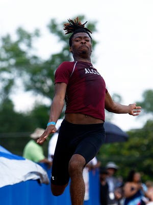 Alcoa's Bryan Brown competes in the long jump during the 2018 TSSAA Track and Field State Championships Wednesday, May 23, 2018 in Murfreesboro, Tenn. (Photo by Wade Payne, Special to the Tennessean)