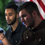 Spencer Stone, Anthony Sadler and Alek Skarlatos in Paris in August 2015 after thwarting a terrorist attack.