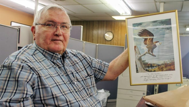 Eagle Forum member John Gordon shows off his award at the Daily News office signed by the iconic Phyllis Schlafly before her passing last month on Sept. 5.