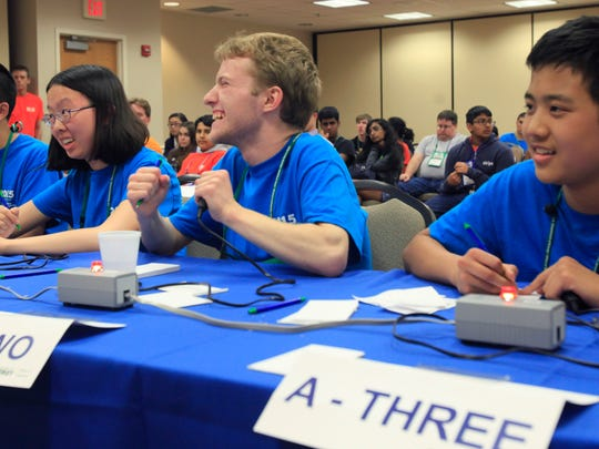 Thomas Jefferson High School for Science and Technology team competes in the 2015 National Science Bowl academic competition on May 3, 2015, in Washington, DC.