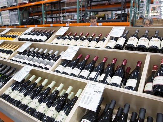 Wines on display during the preview party for the Costco at the Ambassador Town Center in Lafayette March 16, 2016.