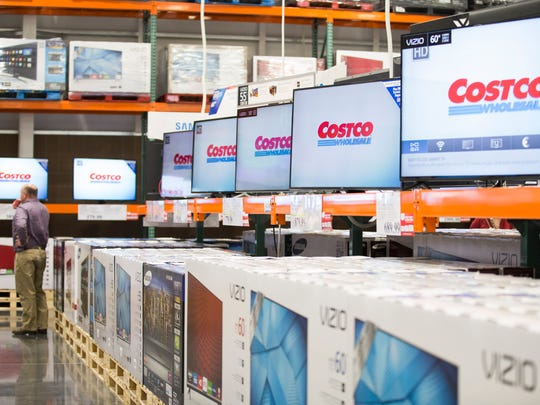 Televisions on display during the preview party for the Costco at the Ambassador Town Center in Lafayette March 16, 2016.