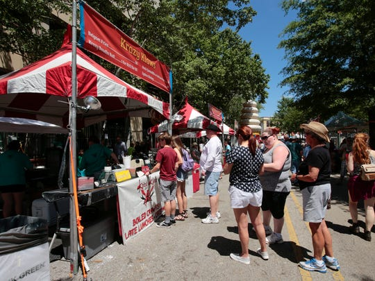 Food vendors are pictured during the 2016 Festival International de Louisiane.