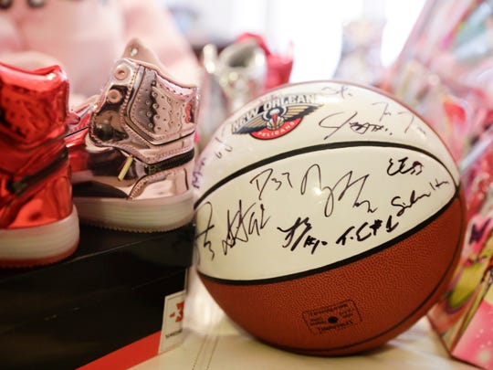 An autographed ball from the New Orleans Pelicans is