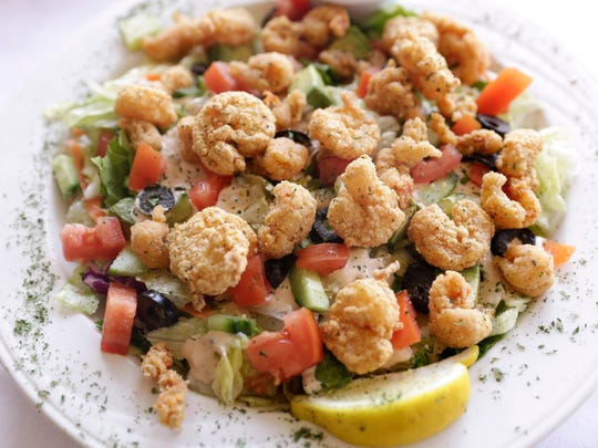 Fried shrimp and crawfish salad with remoulade dressing