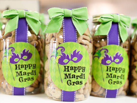 Mardi Gras themed cookies on sale at Caroline and Company
