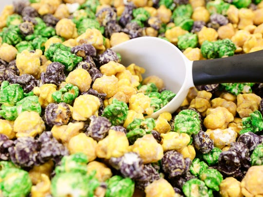King cake flavored popcorn at Popalicious Feb. 6, 2017.