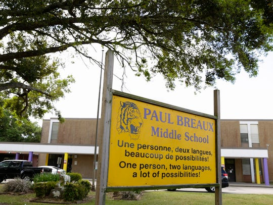 Paul Breaux Middle School in Lafayette Tuesday, March