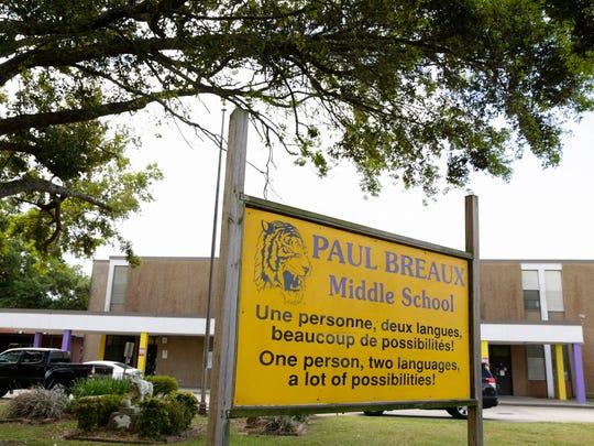 Paul Breaux Middle School in Lafayette Tuesday, March 21, 2017.