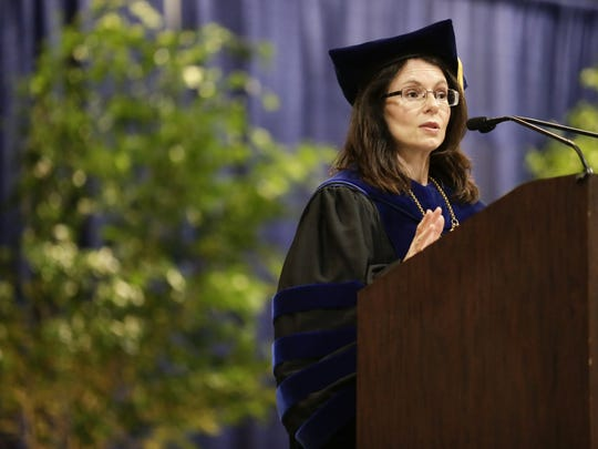 South Louisiana Community College Chancellor Natalie Harder addresses graduates during commencement May 12, 2016.
