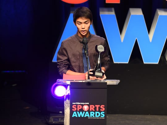 Northjersey.com Sports Awards at the Bergen Performing Arts Center on Thursday, June 14, 2018. Boys Tennis Player of the Year Chikaya Sato of Cresskill.