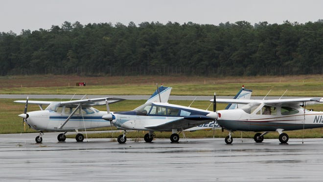 File photo of a rain-soaked tarmac at Ocean County Airport in Berkeley Township.