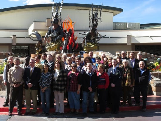 Participants in the final SET plan review session posed for a commemorative photo in front of the Inn of the Mountain Gods Monday.