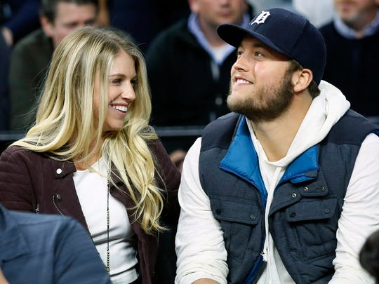 Kelly and Matthew Stafford at a Pistons game in 2015.