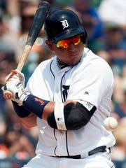 Jun 4, 2017; Detroit, MI, USA; Tigers first baseman Miguel Cabrera reacts to an inside pitch in the fourth inning against the White Sox at Comerica Park.