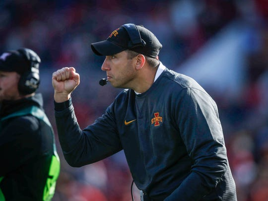 Iowa State head football coach Matt Campbell pumps his fist after Iowa State scored against TCU on Saturday, Oct. 28, 2017, at Jack Trice Stadium in Ames.