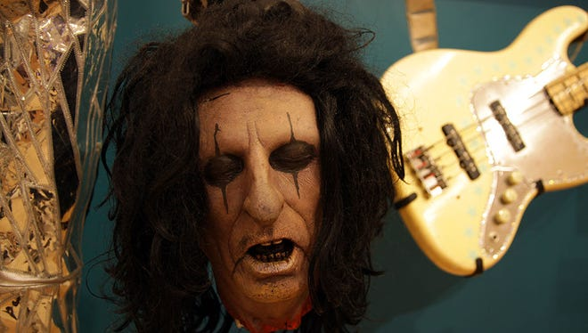 This molded severed-head stage prop in the likeness of Alice Cooper is at the Musical Instrument Museum. The Alice Cooper band formed in Phoenix in 1964 (first as the Earwigs, then the Spiders and the Nazz) and the museum exhibit contains objects from various moments in Alice Cooper history.