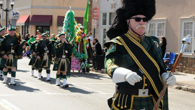 The Essex County Emerald Society Pipes and Drums march in the 2016 Nutley St. Patrick's Day Parade.
