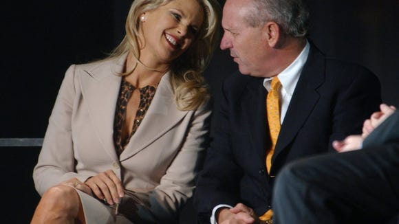 Former swimsuit model Christie Brinkley shared a laugh with NJSEA President George Zoffinger at the signing of a 75-year ground lease for Meadowlands Xanadu on Oct. 5, 2004.