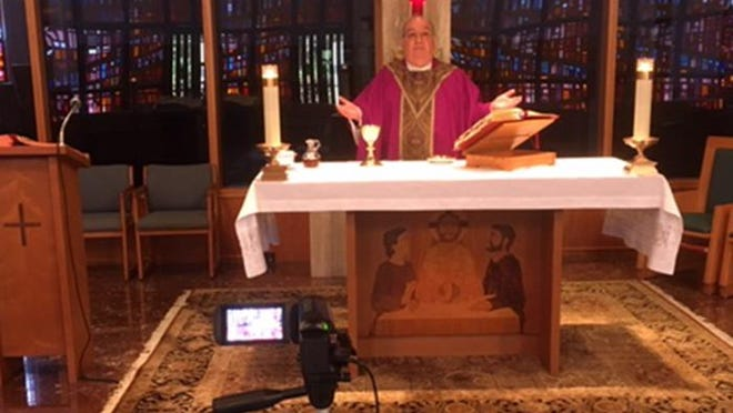 Father Tom Lafreniere of St. Paul of the Cross in North Palm Beach will do Easter Mass, as he has done services for weeks, on YouTube from their chapel 'now our studio.'
