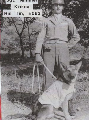 Sgt. Nimmer and Rin Tin in South Korea.