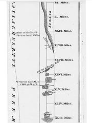 Detail of the map of the resurvey of the Pre-emption Line signed on April 7, 1796, by Simeon De Witt, New York's surveyor general. Col. Maxwell's original survey is plotted on the left-hand side of the map as a dotted line. The corrected line is at right. As the line proceeds, the variance between magnetic north and true north is shown in both the distance in miles, chains and links; and by degrees and minutes.