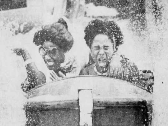 Sept. 1978: Jerry Kelly, left, and Mary Hoover enjoy the Over-the-Falls ride at Seabreeze Amusement Park.
