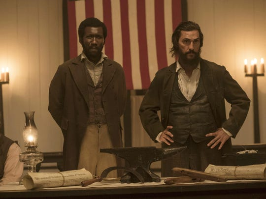 """Mahershala Ali, left, and Matthew McConaughey appear in a scene from """"The Free State of Jones."""""""