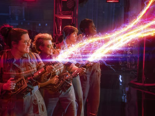 "The Ghostbusters Abby (Melissa McCarthy), Holtzmann (Kate McKinnon), Erin (Kristen Wiig) and Patty (Leslie Jones) in ""Ghostbusters."""