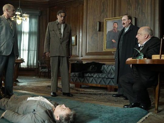"Steve Buscemi as Khrushchev, Adrian McLoughlin as Stalin, Jeffrey Tambor as Malenkov, Dermot Crowley as Kaganovich, and Simon Russell Beale as Beria in Armando Iannucci's ""The Death of Stalin."""