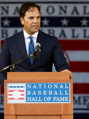 From July 24, 2016, National Baseball Hall of Fame inductee Mike Piazza speaks during the induction ceremony at the Clark Sports Center in Cooperstown, N.Y. Only seven teams were still making selections by the 62nd round of the 1988 draft, when the Dodgers took Piazza. Piazza went on to become one of the game's top hitters, and he is the lowest-drafted player elected to the Hall of Fame.