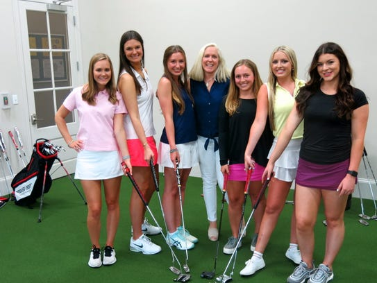 """Demoiselle Debs at the Patron Sons Par-Tee which kicked off the 2018 Demoiselle Debutante Summer Season: Molly Bowman, Grace Poimboeuf, Lillian Huggs, Demoiselle Debutante Ball Chief Lisa Nelson, Allyson Horton, Anne Evans, Margaret Armistead. The coterie will be introduced to society Dec. 28 at the black-tie, """"A Night to Dream On."""""""