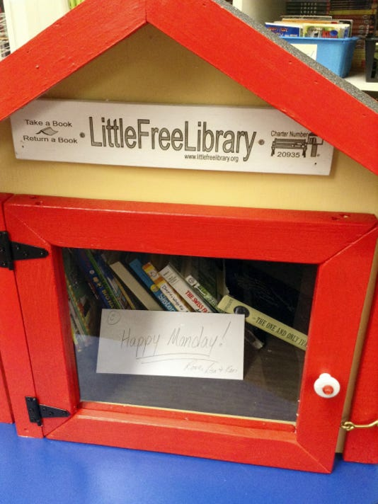This Little Free Library will be placed at John Rudy Park, with a dedication planned for May 30. It was donated by the Little Free Library organization. People are invited to take books from inside and also contribute books.