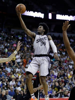 Phoenix Suns' Josh Jackson shoots against the Houston Rockets during the second half of an NBA summer league basketball game, Monday, July 10, 2017, in Las Vegas.