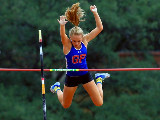 Gregory-Portland's Riley Floerke competes in the girls 5A pole vault during UIL State Track & Field Championships on Thursday, May, 11, 2017, at Mike A. Meyers Stadium in Austin.