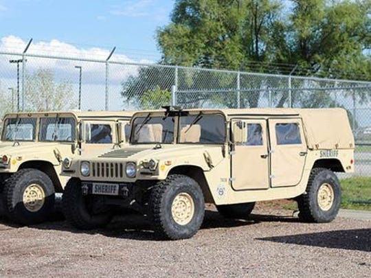 Humvee utility truck vehicles obtained by the Larimer County Sheriff's Office from the federal 1033 program.