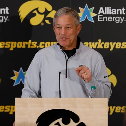 Iowa coach Kirk Ferentz addresses the media after learning