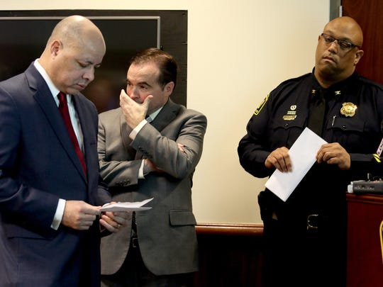 (From left:) City Manager Harry Black, Mayor John Cranley and Police Chief Eliot Isaac at Tuesday's press conference about Monday night's officer-involved shooting.