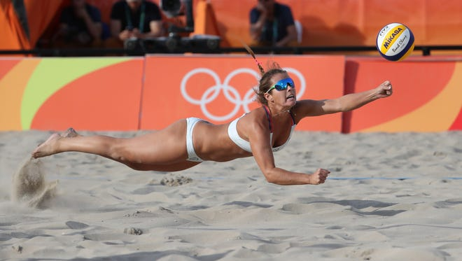 Estero's Brooke Sweat, a Canterbury School and FGCU graduate, teamed with Lauren Fendrick in the 2016 Olympics. They lost all three matches, but Sweat now is teaming with Kerri Walsh Jennings for a run at the 2020 Games in Tokyo following shoulder surgery last May.