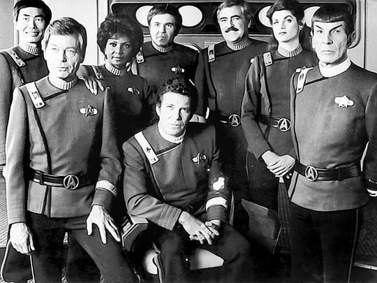 "William Shatner (center) and the crew of the Enterprise in ""Star Trek II: The Wrath of Khan."""