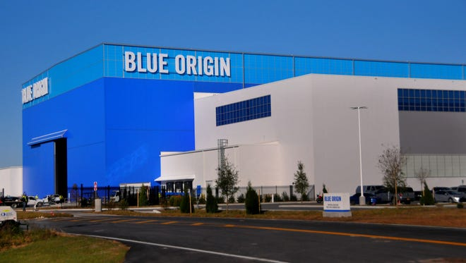 Blue Origin's New Glenn rocket factory at KSC's Exploration Park as seen on Wednesday, Dec. 13, 2017.