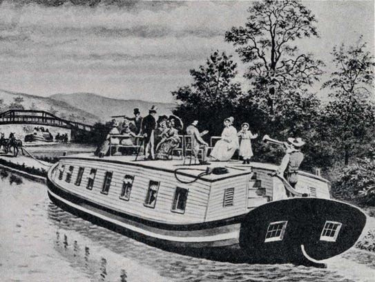 A sketch of an Erie Canal packet boat used to transport