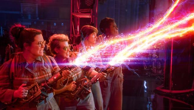Abby (Melissa McCarthy), Holtzmann (Kate McKinnon), Erin (Kristen Wiig) and Patty (Leslie Jones) are the new 'Ghostbusters' team.