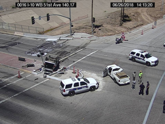 A multivehicle collision on Interstate 10 near 51st Avenue in Phoenix on June 26, 2018, injured seven, four adults and three children, including a possible arm amputation